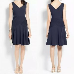 Ann Taylor Blue Sleeveless Pintucked Flounce Dress
